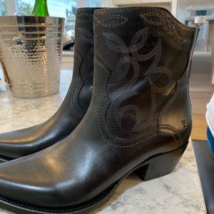 New Black Frye Cowboy Booties